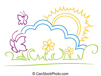 Sunny illustration - Summer design with butterflies over...