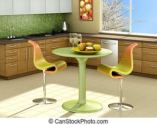 Modern kitchen with apples on the table. The picture on the wall is my own photograph.
