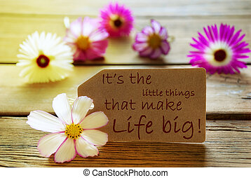 Brown Label With Sunny Yellow Effect With Life Quote Its The Little Things That Make Life Big With Purple And White Cosmea Blossoms On Wooden Background Vintage Retro Or Rustic Style