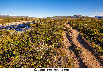 sunny landscape Norway mountains Dovrefjell