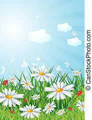 Sunny lanscape with flowers, eps10 vector illustration