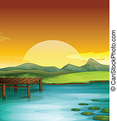 Sunny landscape - Illustration of a sun setting over water