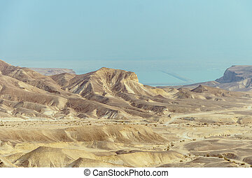 Sunny landscape view on the dead sea from desert in Israel