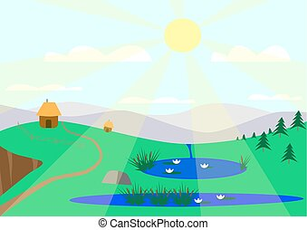 Sunny landscape with lakes drawing against the background of...