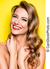 sunny laugh - Cheerful beautiful young woman with charming...