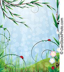 Зеленый луг с полевыми цветами и насекомыми. Весенний солнечный пейзаж