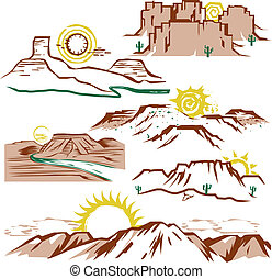 Clip art set of sun, canyons and mesas