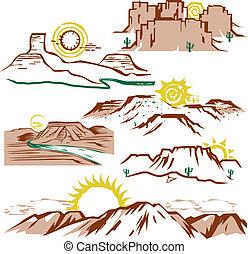 Sunny Mesas - Clip art set of sun, canyons and mesas