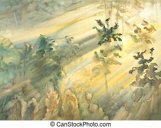 sunny morning forest landscape watercolor