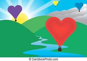 Sunny Morning Love Air Balloon Scene