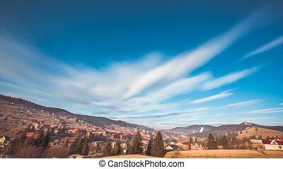Sunny mountain village. Majestic nature landscape - View...
