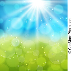 Sunny natural background with lens flare