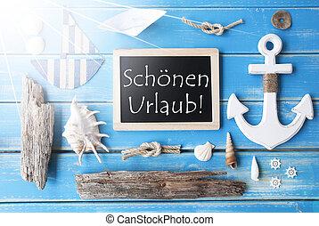 Sunny Nautic Chalkboard, Schoenen Urlaub Means Happy...