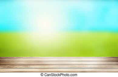 sunny outdoor green wood background 3d render