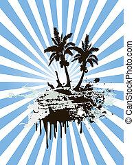 Sunny palm tree island