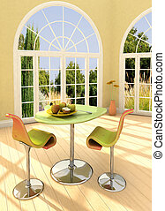 Sunny room - Modern room with french windows and apples on...