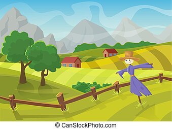 Sunny rural landscape with hills, trees, mountains and fields. Vector illustration of beautiful autumn summer landscape. Green and yellow farm field.
