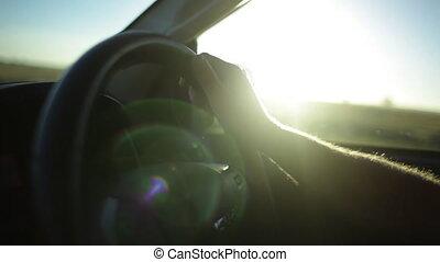 Sunny safari truck ride - A shot from inside a car. The sun...