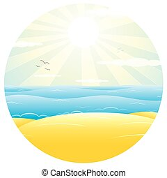 Sunny Sand Beach. Vector Illustration
