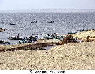 Lake Moeris - sunny scenery at Lake Moeris in Egypt