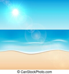 Sunny sea beach background.