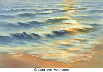 sunny sea reflections watercolor background. Summer landscape