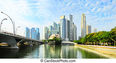 Sunny Singapore - Skyline of Singapore downtown with...