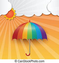 sunny sky background - rainbow color umbrella and sun on...
