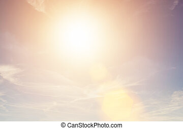 Sunny sky background in vintage retro style. Sun flare