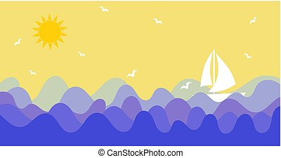 Sunny sky with birds and ship sailing the sea or ocean background