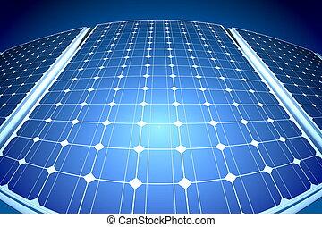 Sunny solar blue shiny panel, closeup