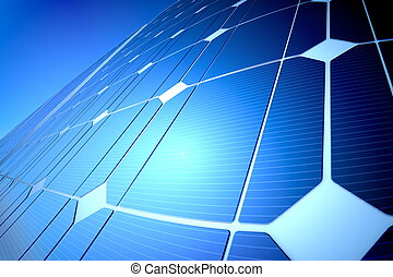 Sunny solar blue shiny panel, closeup
