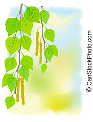 Sunny spring background with birch branches. Vector...