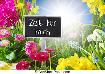 Sunny Spring Flower Meadow, Zeit Fuer Mich Means Time For Me...