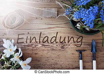 Sunny Spring Flowers, Einladung Means Invitation - German...
