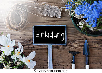 Sunny Spring Flowers, Sign, Einladung Means Invitation -...