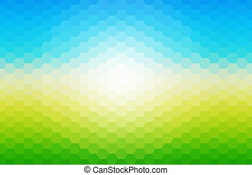 Sunny spring mosaic background, blue and green hexagonal pattern vector background