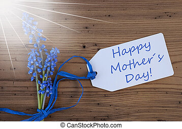 Sunny Srping Grape Hyacinth, Label, Happy Mothers Day -...