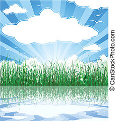 Sunny summer background with grass, water and clouds - Sunny...