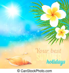 Sunny summer beach with shell and flowers