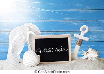 Sunny Summer Card With Gutschein Means Voucher