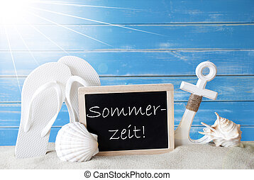Sunny Summer Card With Sommerzeit Means Summertime