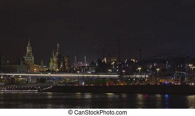 Sunny summer day moscow river bay kremlin night