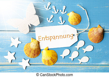 Sunny Summer Greeting Card With Entspannung Means Relaxation