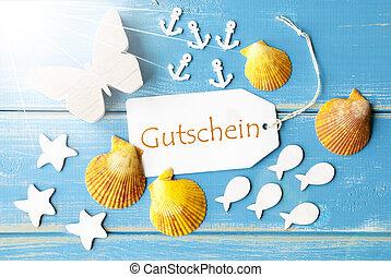 Sunny Summer Greeting Card With Gutschein Means Voucher