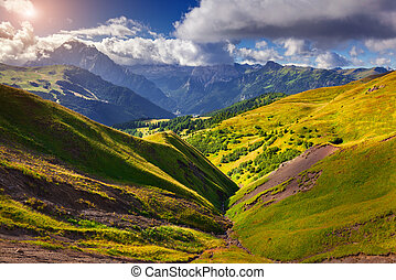 Sunny summer morning in Italy Alps. Views from the Sella...