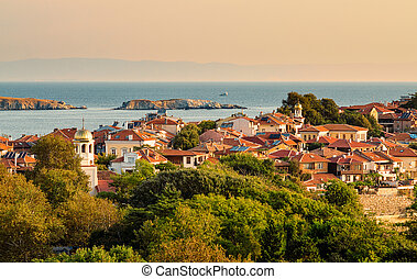 sunny summer morning in small town on peninsula, sozopol,...