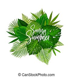 Sunny summer tropical palm leaf poster