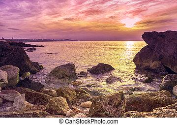 Sunny sunset on the coast of Mallorca