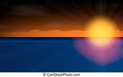 Sunny sunset over the sea. Vector Illustration.